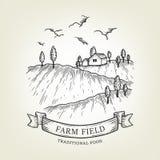 Wektoru gospodarstwa rolnego krajobraz Wiejski widok robić w grafika stylu, odosobnionym na tle Zdjęcia Royalty Free