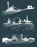 Wektoru gospodarstwo rolne kształtuje teren ilustracje ustawiać Ręka rysująca wieś Rysunki willa, chłopa dom w polach ilustracja wektor