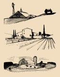 Wektoru gospodarstwo rolne kształtuje teren ilustracje ustawiać Ręka rysująca wieś Rysunki willa, chłopa dom w polach ilustracji