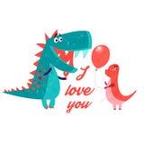 Wektoru jaskrawy kochliwy dinosaur enamored ilustracja wektor