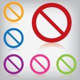 Wektoru juczny kolorowy znak zakazujący  Zdjęcie Stock