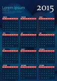 Wektoru kalendarz 2015 Obraz Stock