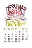 Wektoru kalendarz dla Listopadu 2 (0) 1 8 Ręki rysować literowanie wycena dla kalendarzowego projekta Obrazy Royalty Free