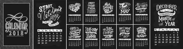 Wektoru kalendarz dla miesięcy 2 (0) 1 8 Ręki rysować literowanie wycena dla kalendarzowego projekta Fotografia Stock