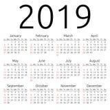 Wektoru kalendarz 2019, Niedziela Zdjęcie Royalty Free