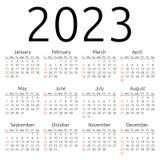 Wektoru kalendarz 2023, Niedziela Obrazy Royalty Free