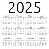 Wektoru kalendarz 2025, Niedziela Obrazy Stock