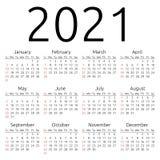 Wektoru kalendarz 2021, Niedziela Zdjęcie Stock