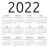 Wektoru kalendarz 2022, Niedziela Obrazy Stock