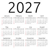 Wektoru kalendarz 2027, Niedziela Zdjęcia Royalty Free