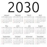 Wektoru kalendarz 2030, Niedziela Zdjęcie Royalty Free