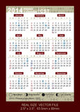 Wektoru kalendarz 2014 z fazami moon/CST Zdjęcia Stock