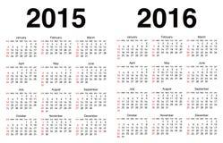 Wektoru kalendarzowy szablon Fotografia Royalty Free
