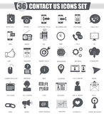 Wektoru kontakt my poparcie ikony czarny set Zmrok ikony popielaty klasyczny projekt dla sieci Zdjęcia Royalty Free