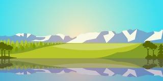 Wektoru krajobraz z jeziorem, polem i górami, Wiejska scenerii ilustracja Fotografia Royalty Free