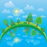 Wektoru krajobraz z zielonymi drzewami, jezioro i niebo Zdjęcia Royalty Free