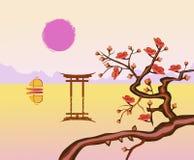 Wektoru krajobrazowy Wschodni wschód słońca Obraz Stock