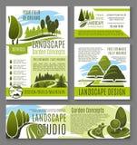Wektoru krajobrazu ogródu projekta pojęcia plakaty Zdjęcie Royalty Free