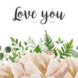 Wektoru kwiatu bukieta karciany kwiecisty projekt z brzoskwinią, menchii róża P Fotografia Stock
