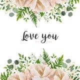 Wektoru kwiatu bukieta karciany kwiecisty projekt z brzoskwinią, menchia proszek Obraz Royalty Free
