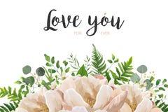 Wektoru kwiatu bukieta karciany kwiecisty projekt z brzoskwini menchii róży Pe Obraz Royalty Free