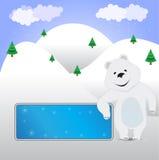 Wektoru niedźwiedź z sztandarem na zimy tle Zdjęcia Stock