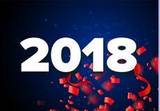 Wektoru 2018 nowego roku bielu i czerwieni Szczęśliwa ilustracja z faborkami i confetti na czarnym tle Obrazy Stock