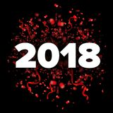 Wektoru 2018 nowego roku bielu i czerwieni Szczęśliwa ilustracja z faborkami i confetti na czarnym tle Zdjęcia Royalty Free