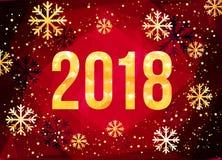 Wektoru 2018 nowego roku Szczęśliwa karta Złote liczby z confetti na czarnym tle Fotografia Stock