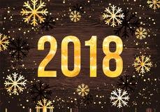 Wektoru 2018 nowego roku Szczęśliwa karta Złote liczby z confetti na czarnym tle Fotografia Royalty Free