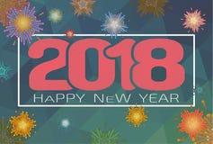 Wektoru 2018 nowego roku szczęśliwy świętowanie BG Obrazy Royalty Free