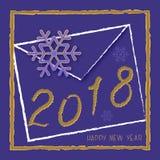 Wektoru 2018 nowego roku szczęśliwy projekt royalty ilustracja