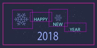 Wektoru 2018 nowego roku szczęśliwy projekt z ramą, tekstem i płatkiem śniegu, ilustracji