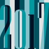 Wektoru 2017 nowego roku Szczęśliwy tło kalendarzowa pokrywa, typograficzna wektorowa ilustracja ilustracja wektor