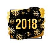 Wektoru 2018 nowego roku Szczęśliwy tło Złote liczby z confetti na czarnym tle Obraz Stock
