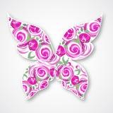 Wektoru Odosobniony multicolor motyl Papierowy motyli logo z różami Zdjęcie Stock