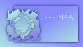 Wektoru papier macha gradientowego fiołkowego błękitnego sztandaru tło Ocean melodia ilustracja wektor
