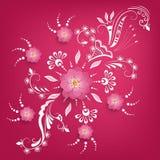 Wektoru papier rżnięty Sakura kwitnie z mehndi ornamentem na tle Kwiecisty wolumetryczny skład ilustracja wektor