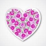 Wektoru papierowy serce z różowymi różami dla poślubiać, małżeństwo, urodziny, Valentine& x27; s dzień Fotografia Stock