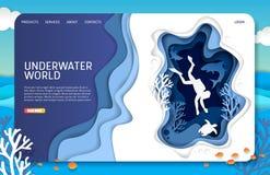 Wektoru papieru lądowania strony strony internetowej rżnięty podwodny światowy szablon ilustracji