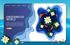 Wektoru papieru lądowania strony strony internetowej rżnięty podwodny światowy szablon ilustracja wektor