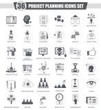 Wektoru projekta planowania czerni ikony finansowy biznesowy set royalty ilustracja