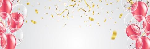 Wektoru przyjęcie szybko się zwiększać ilustrację Confetti i faborki zaznaczają ri ilustracja wektor