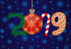 Wektoru 2019 Szczęśliwy nowy rok royalty ilustracja