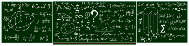 Wektoru szkolny blackboard z ręcznie pisany obliczeniami ilustracja wektor