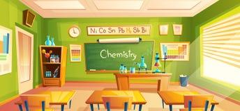 Wektoru szkolny laboratorium, sala lekcyjnej wnętrze, chemia pokój Edukacyjni chemiczni eksperymenty, gabinetowy meble ilustracji