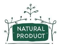 Wektoru szyldowy Naturalny produkt które pokazują pomysł ekologia, naturality i świeżość, royalty ilustracja