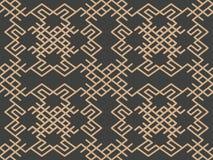 Wektoru tła geometrii czeka spirali krzyża ramy adamaszkowego bezszwowego retro deseniowego orientalnego chian grzebienia brązu E royalty ilustracja