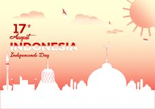 Wektoru tła koloru Krajobrazowy projekt, ilustracja Indonezja dnia niepodległości ikony i punkty zwrotni, royalty ilustracja