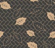 Wektoru tła wieloboka geometrii krzyża ramy ogródu botanicznego adamaszkowy bezszwowy retro deseniowy liść Elegancki luksusowy br ilustracji